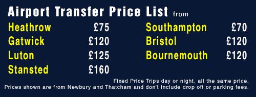 Airport Transfer Price List